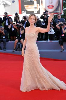 sonia bergamasco blush strapless beaded evening dress venice film festival 2016