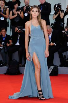 sistine rose stallone chic pale blue halter prom dress venice film festival 2016