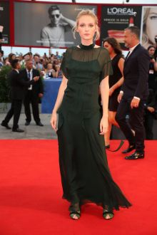 caterina shulha vintage dark green evening dress venice film festival 2016