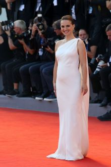 natalie portman grecian one shoulder white satin dress venice film festival 2016