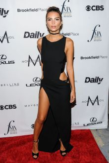 emily ratajkowski sexy black sleeveless cutout long prom dress fashion media 2016