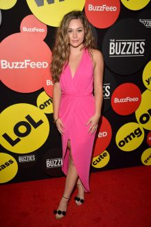 brec bassinger pink chiffon deep v neck high low sweet 16 dress pre emmy 2016