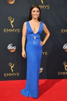shiri appleby blue sequin sleeveless deep v neck evening formal dress emmys 2016