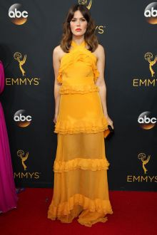 mandy moore unique yellow ruffled halter sheer pageant prom dress emmys 2016