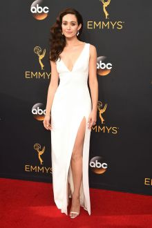 emmy rossum elegantly sleeveless sexy v neck white evening prom dress emmys 2016