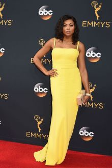 taraji p henson simple yellow spaghetti strap long prom dress emmys 2016