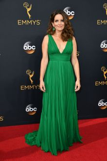 tina fey classic green chiffon sleeveless v neck evening prom dress emmys 2016