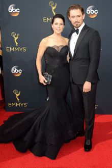 neve campbell classic vintage black satin lace mermaid evening dress emmys 2016
