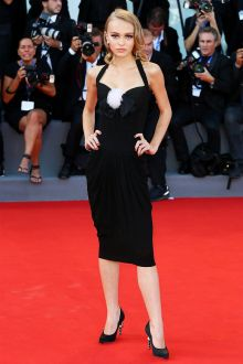 lily rose depp cute black draped knee length prom dress venice film festival 2016