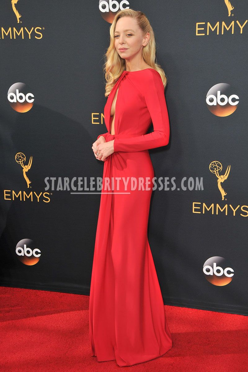 portia doubleday elegant yet sexy red long sleeve evening prom dress