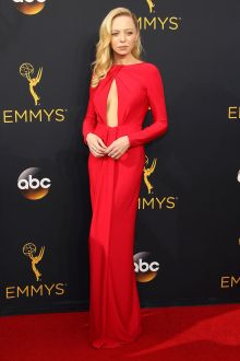 portia doubleday elegant yet sexy red long sleeve evening prom dress emmys 2016