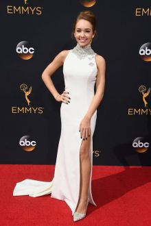 holly taylor chic crystals high neck white sheath slit long dress emmys 2016