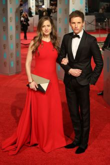 hannah bagshawe simple yet elegant sleeveless red satin evening dress bafta 2016