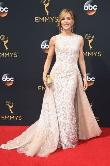 felicity huffman elegant champagne tulle with lace applique prom dress emmys 2016
