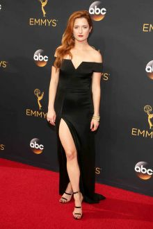 grace gummer sexy elegant black satin off the shoulder prom dress emmys 2016