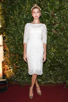 hailey baldwin little white lace long sleeve cocktail dress milan fashion 2016
