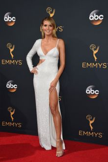 heidi klum sexy white sequin one sleeve thigh high slit prom dress emmys 2016