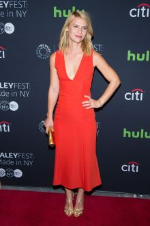 claire danes feminine red ankle length homecoming dress homeland screening 2016