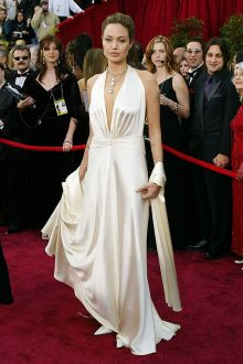 angelina jolie sexy ivory satin plunging long celebrity prom dress oscars 2004