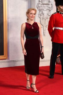 gillian anderson slim burgundy velvet sleeveless ankle length cocktail dress 2016