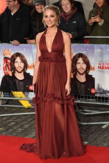 joanne froggatt halter plunging burgundy dress 'a street cat named bob' premiere