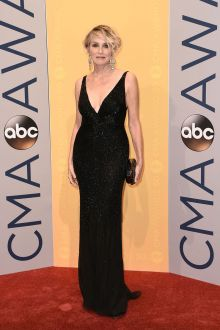 sharon stone sequin black sleeveless plunging sheath formal dress cma 2016
