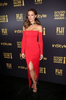 kate beckinsale sexy red off the shoulder long sleeve prom dress golden globes 2017