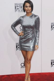 silver grey sequin long sleeve nazanin mandi short dress 2016 american music