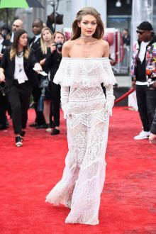 gigi hadid white sheer lace off the shoulder column evening prom dress 2016 music