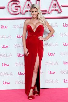 chloe sims simple strapless v neck red slit long prom dress the itv gala 2016