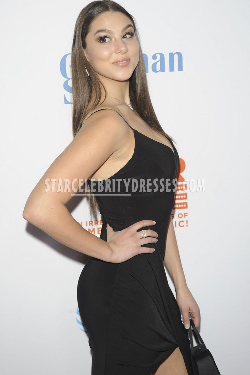 feminine black cocktail red carpet dress kira kosarin