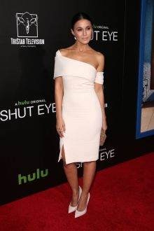 ivory off shoulder cocktail dress emmanuelle chriqui shut eye tv premiere 2016