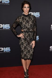gemma atkinson black lace long sleeve high neck short evening dress