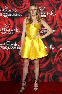 yellow satin strapless short cocktail homecoming dress shantel vansanten 2017