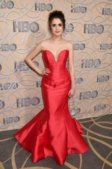 classic red satin trumpet evening prom dress laura marano golden globes 2017