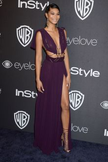 chanel iman sexy cutout plunging slit purple chiffon prom dress golden globes 2017