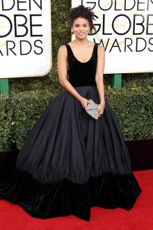 black scoop neck ball gown celebrity prom dress zazie beetz golden globes 2017
