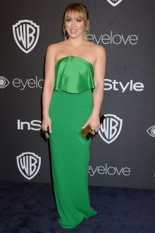 unique strapless folded green evening prom dress hilary duff golden globes 2017