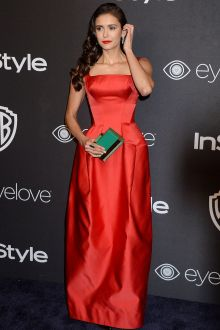 nina dobrev simple red satin floor length wide strap prom dress golden globes 2017