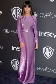 lea michele lilac full sequin long sleeve evening formal dress golden globes 2017