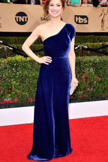 blue velvet one shoulder floor length prom dress ellie kemper sag