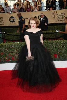 off the shoulder black tulle plus size celebrity prom dress shannon purser 2017