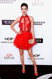 sexy illusion red floral tulle high neck short sweet 16 dress victoria justice