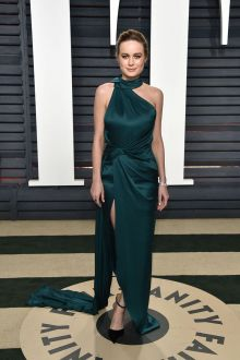 brie larson teal satin one shoulder halter prom dress vanity fair oscar 2017
