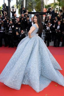 Aishwarya Rai Bachchan Light Blue Beaded Ball Gown Prom Dress Cannes 2017