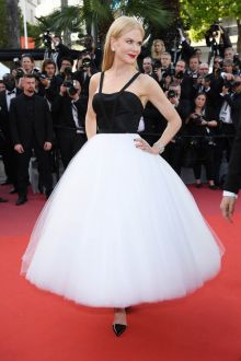 Chic Nicole Kidman Black Satin White Tulle  Tea length Cocktail Ball Gown Cannes 2017