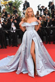 Elsa Hosk  Light Blue Taffeta Off the shoulder Slit Ball Gown Prom Dress Cannes 2017