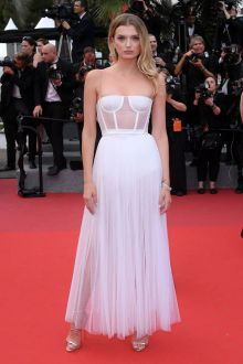 Lily Donaldson Sheer White Ankle Length Dress Cannes 2017 Red Carpet
