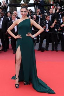 Elegant Deepika Padukone Dark Green One Shoulder Prom Dress Cannes 2017