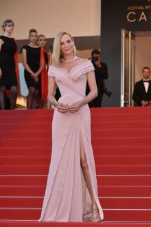 Blush Pink Folded Long Evening Prom Dress Cannes 2017